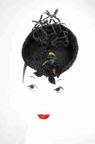 """Paris in Rome"" black headpiece in hand blocked wool ,veiling and beads"