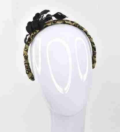 Antique gold and black ribbon with black velvet leaves on black velvet headband