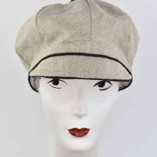 Beige/natural organic cotton cap with black trim
