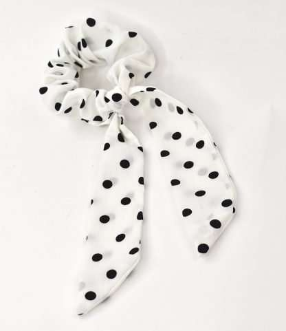 White and black ponytail tie