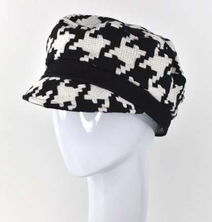 Black and white check cap with black detail