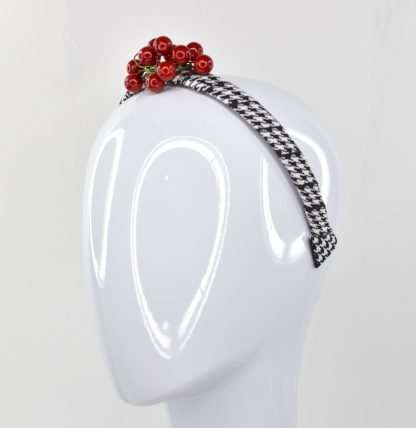 Black and white check with berries on headband
