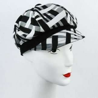 Black and white print cap with black trim