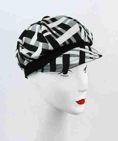 Black and white print cap with black trim