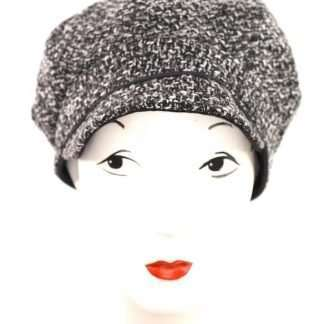 Black and white tweed cap