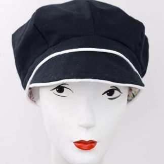 Black cap with ivory trim
