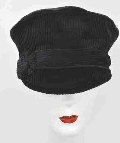 Black corduroy cap vintage inspired