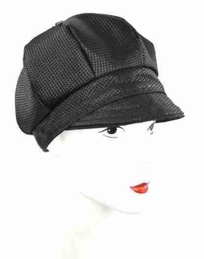 Black dotted jaquard cap with black trim custom order