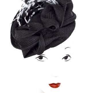 Black sculpted headpiece with feathers for Wedding, Derby or Ascot