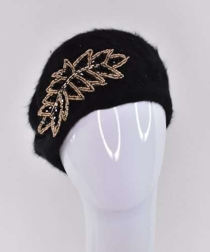 Black wool mohair beret with beaded appliqué