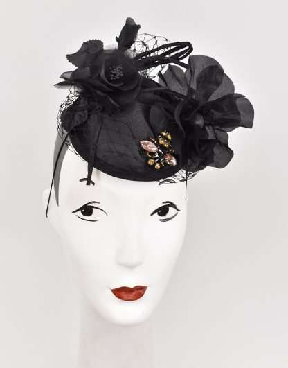 Black satin base with netting and silk flowers, beaded bee