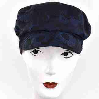 Blue abstract circles damask cap
