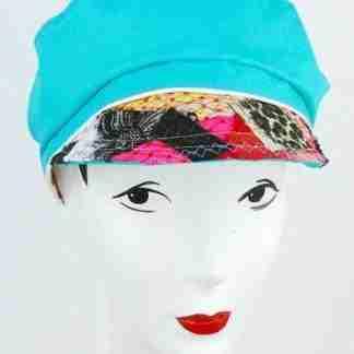 Blue cap, multi fabric peak, artsy
