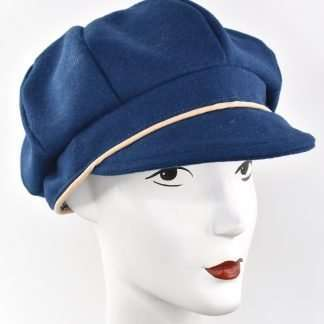 Blue wool cap with beige trim