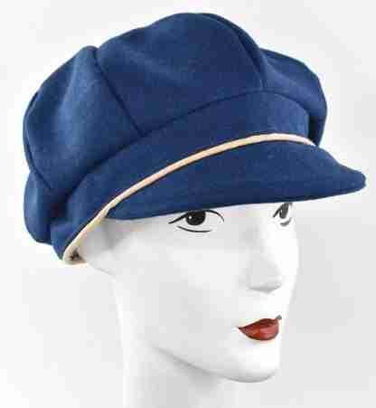 Blue wool cap with beige trim