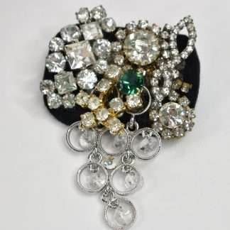 Brooch with mixed media components-crystal drops