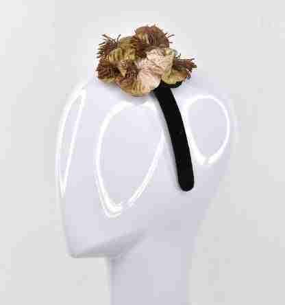 Brown velvet flowers cluster on black velvet headband