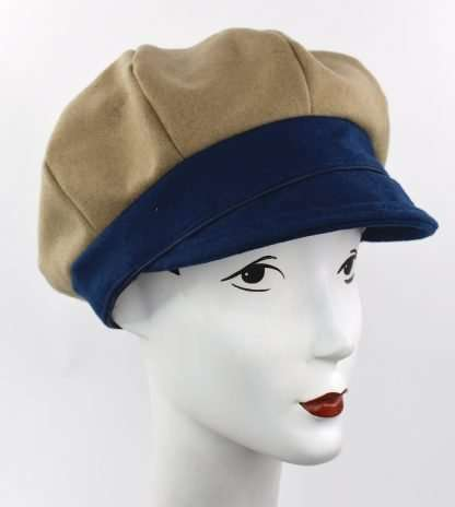 Camel and royal blue wool cap - made to order
