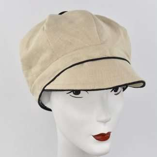 Cream 100% linen cap with black trim