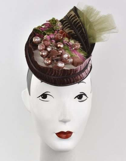 Cream and green headpiece with velvet and vintage trims