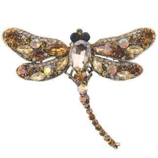 Dragonfly brooch in gold tones