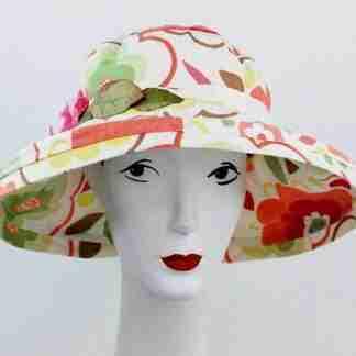 """Floral print """"Gardenia"""" garden hat"""