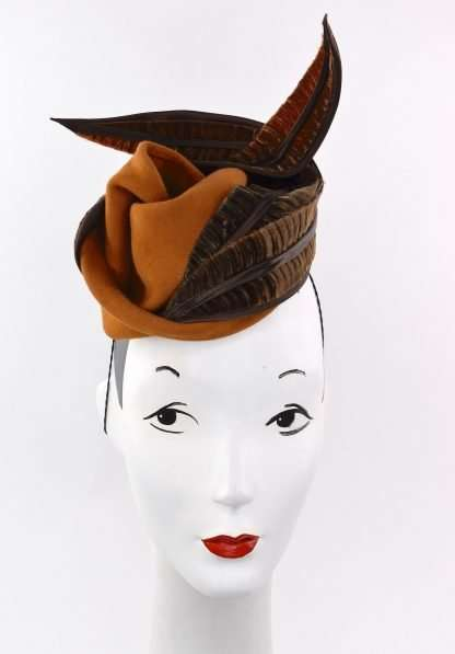 Free form sculpted wool percher hat/headpiece with velvet trim