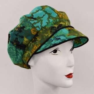 Green print cap with black trim
