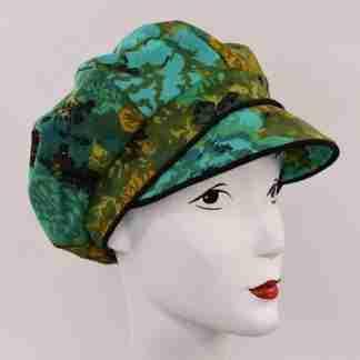 Green print cap with black trim