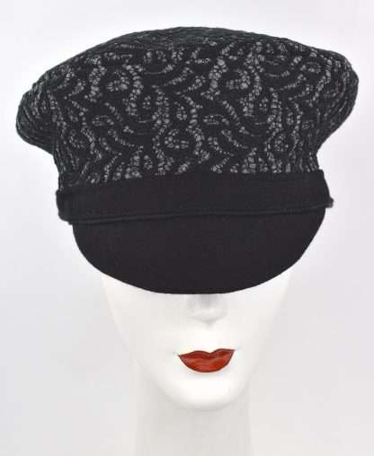 Grey wool cap with lace overlay