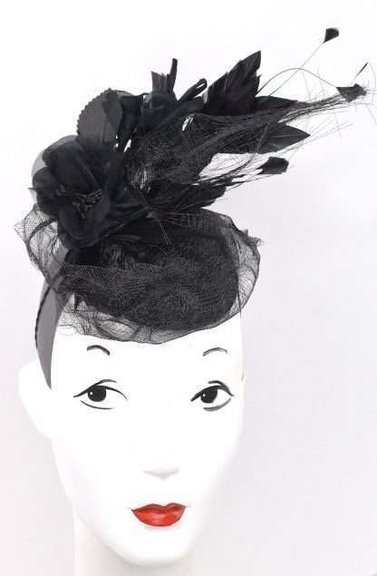 Headpiece with silk flowers and horsehair ribbon detail