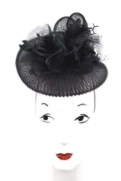 Black sculpted Stylish event headpiece