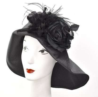 Black Edwardian styled large brim Fall hat with striped band