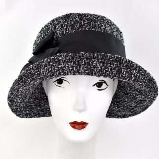 Black and white tweed large brim hat with black detail