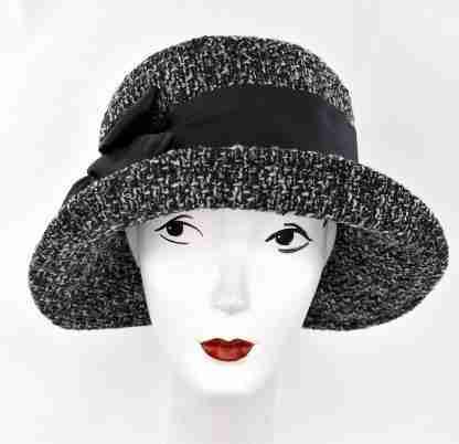 Black and white tweed large brim hat with black detail
