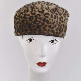 Faux fur leopard pillbox