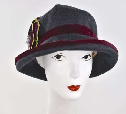 Dark grey wool cloche hat with burgundy trim and velvet flower