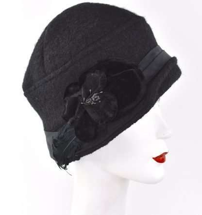 Black poodle wool cloche hat with band ,velvet flower and feathers