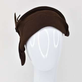 Brown sculpted wool hat half cloche style