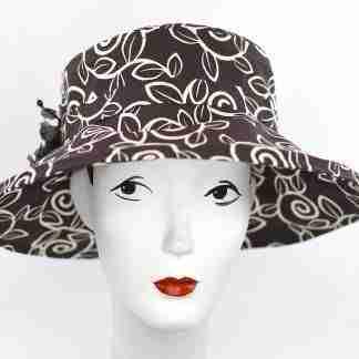 Brown swirl print large brim garden hat