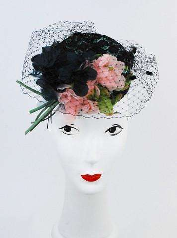 Lace with vintage flowers pillbox