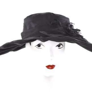 Large brim black silk hat