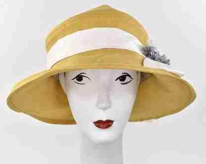 """Large brim summer hat in linen with trim, """" Gardenia"""""""