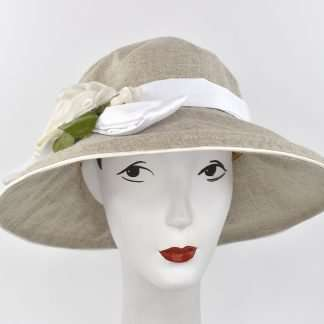 "Large brim summer hat with trim, "" Gardenia/Cloche"""