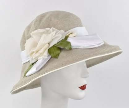 """Large brim summer hat with trim, """" Gardenia/Cloche"""""""