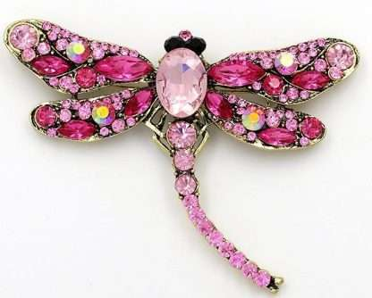 Large pink dragonfly brooch