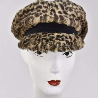 Leopard faux fur cap with black detail
