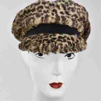 Leopard faux fur cap with black detail