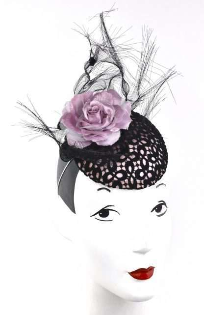 Light pink headpiece with pink satin base and black lace