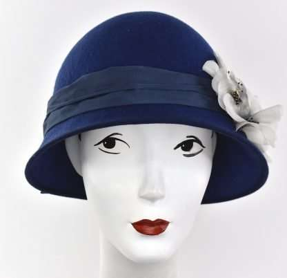 Navy wool flapper cloche hat with vintage silk flowers
